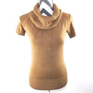 Ann Taylor Gold Short Sleeve Cowl Neck Sweater